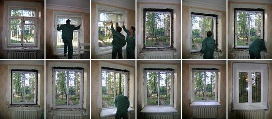 Этапы установки окна пластикового