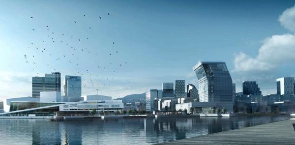Вид на новый Музей Мунка в районе Осло Бьёрвика