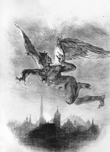 Мефистофель над Виттенбергом Гравюра Эжен Делакруа 1828