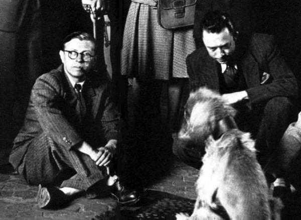 Молодой Жан Поль Сартр и Альбер Камю